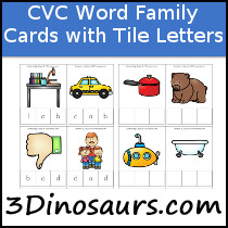 CVC Word Family Cards with Tile Letters - 3Dinosaurs.com