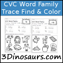 CVC Word Family Trace Color & Find
