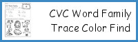 CVC Word Family Trace Find & Color