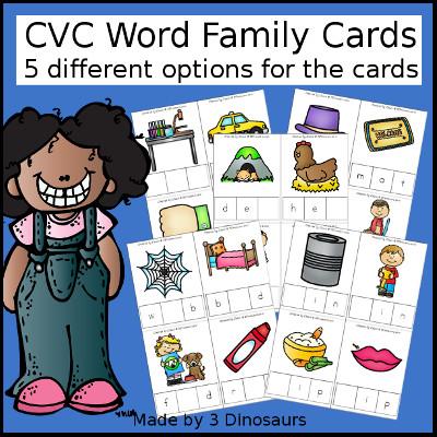 CVC Word Family Cards with Tiles- 3Dinosaurs.com