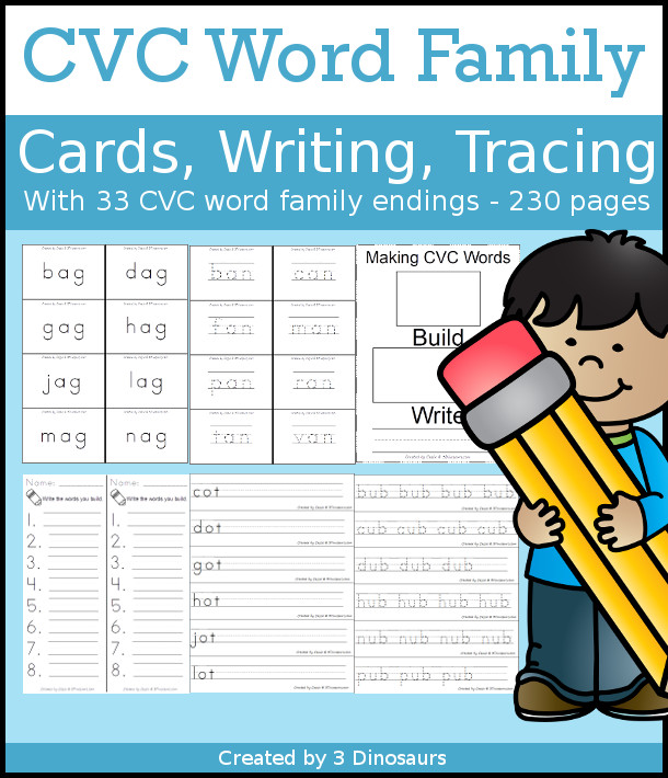 CVC Word Family Cards, Writing & Tracing with  - 3Dinosaurs.com