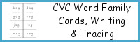 CVC Word Family Cards, Writing & Tracing