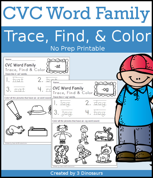 CVC Word Family Trace, Find & Color - 28 page of printables with 28 different cvc word family endings. $ - 3Dinosaurs.com