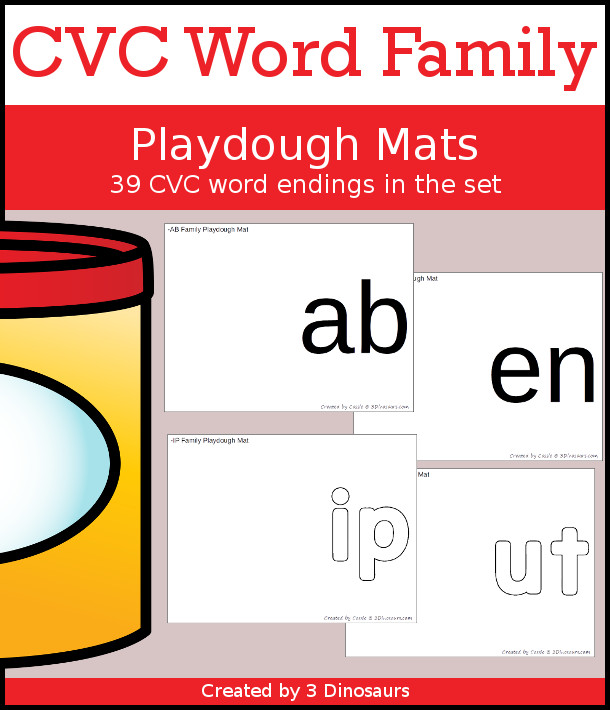 CVC Playdough Mats Selling Set - with 39 word family endings and two options for each playdough mat. - 3Dinosaurs.com