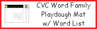 CVC Word Family Playdough Mats with Word Lists