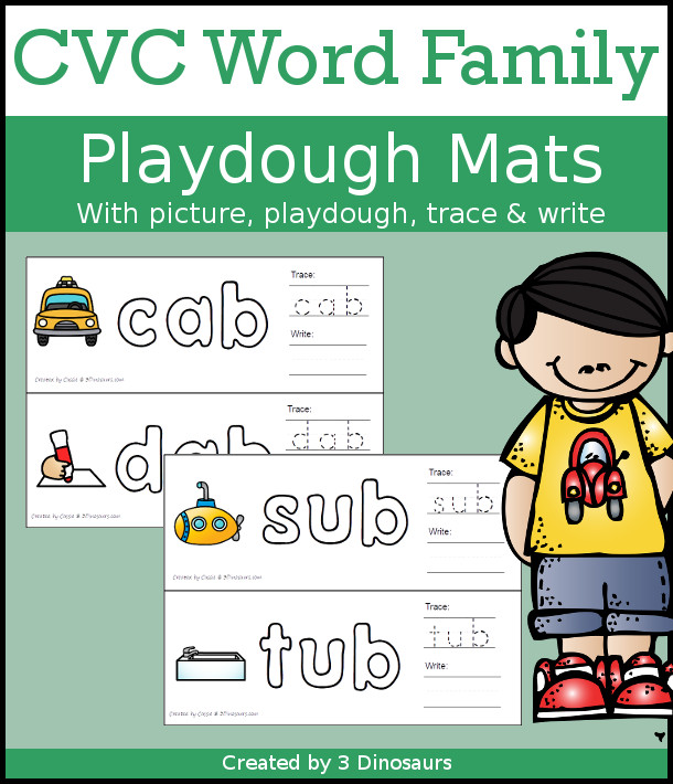 CVC Word Family Playdough Mats with Pictures - 162 mats with picture, playdough area, tracing, and writing - 3Dinosaurs.com