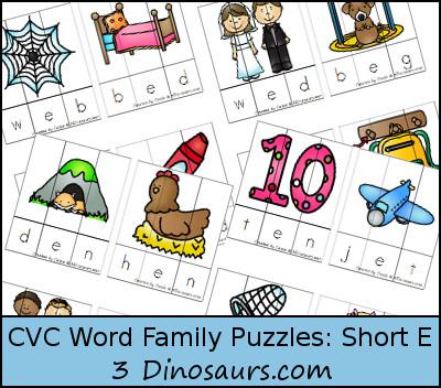 Free CVC Word Family Puzzles Short E - 3Dinosaurs.com