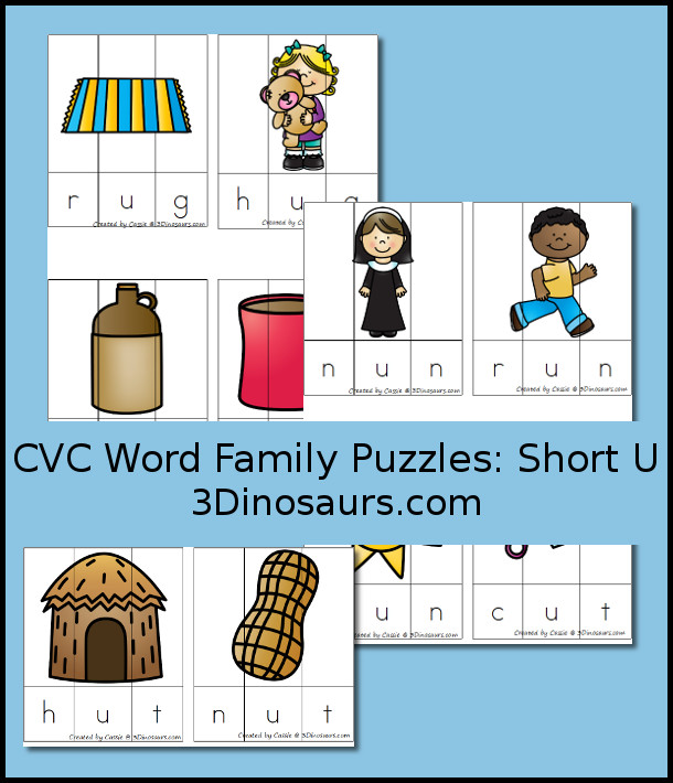 Free CVC Word Family Puzzles Short U - 3Dinosaurs.com