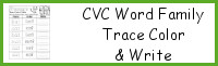 CVC Word Family Trace Color and Write