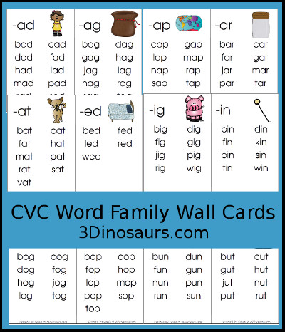 picture relating to Printable Word Wall Cards With Pictures called 3 Dinosaurs - CVC Phrase Loved ones Wall Playing cards