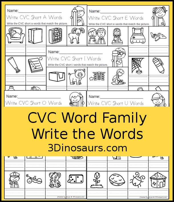 CVC Word Family Write the Words No-Prep Worksheet | 3 ...