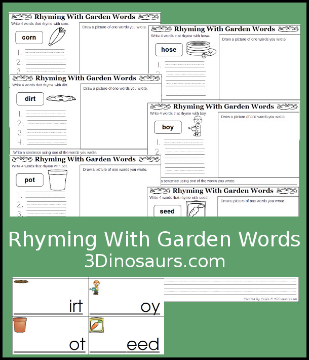 Free Fun Writing Activity for Rhyming Words With A Garden Theme 6 different word endings to make words with drawing and writing - 3Dinosaurs.com