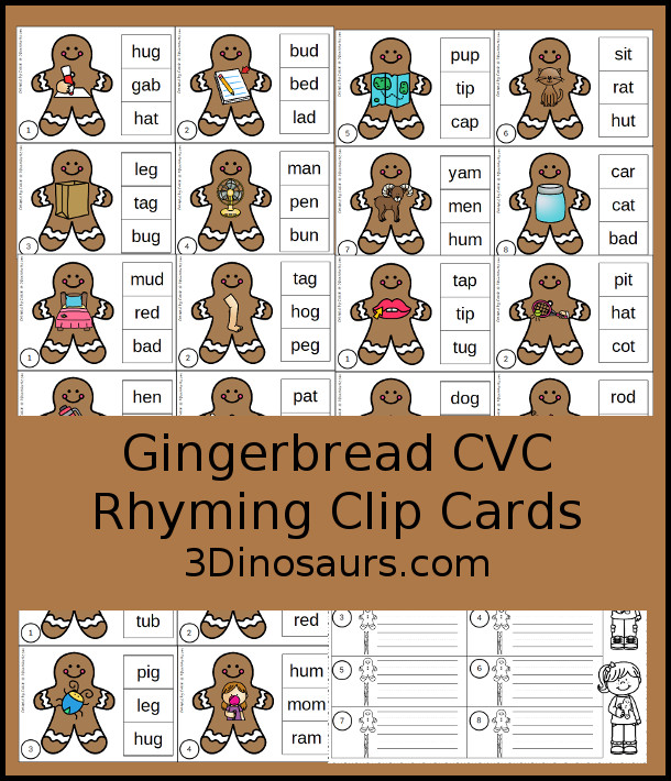 Free Gingerbread Man CVC Rhyming Clip Cards - 9 pages of printables with short a, short e, short i, short o and short u - 3Dinosaurs.com