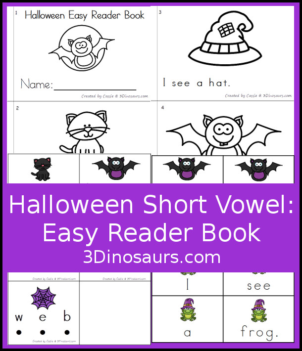 Free Halloween Short Vowel Easy Reader Book - A fun 6 page book for working on simple sentences in an easy reader book with sound it out cards and pocket chart sentence cards. 3Dinosaurs.com