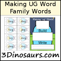 Making UG Words & Easy Reader Book with Worksheets - 3Dinosaurs.com