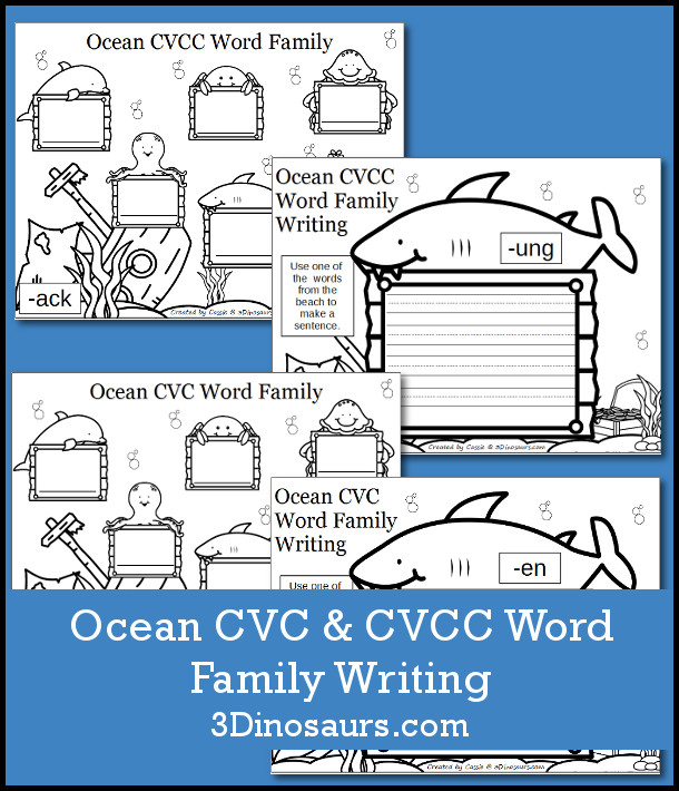 Free Ocean Themed CVC & CVCC Word Family Writing - over 100 pages of printables - 3Dinosaurs.com
