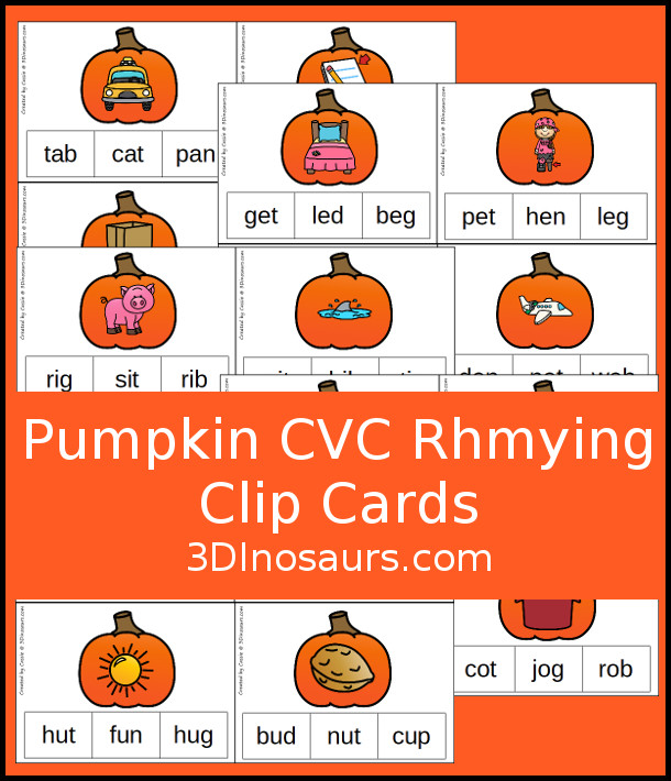 Free Pumpkin CVC Rhyming Clip Cards - 5 pages of printables with short a, short e, short i, short o and short u - 3Dinosaurs.com