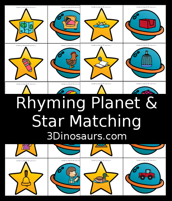 Free Easy to Play Rhyming Planet and Star Matching Game - 3Dinosaurs.com
