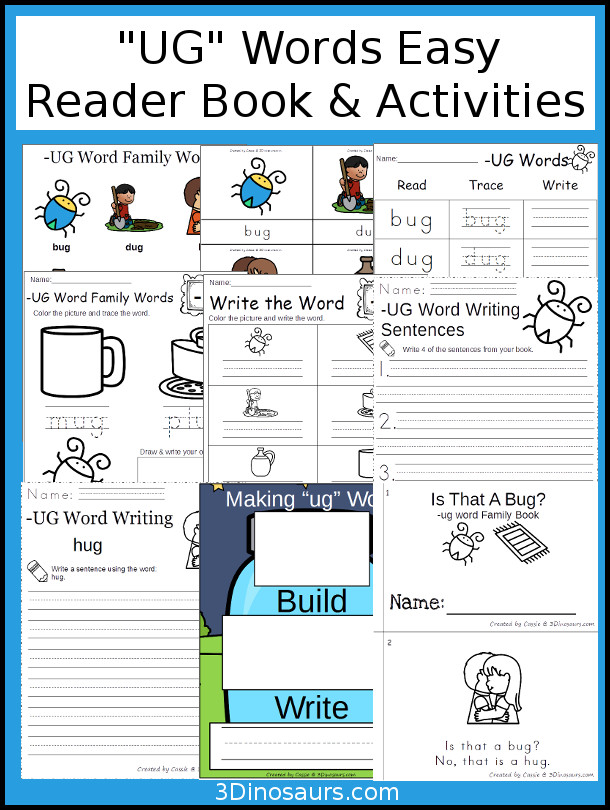 UG Easy Reader Book and Activities - 40 pages of activites, book, and printables to use to learn UG word family words $ - 3Dinosaurs.com