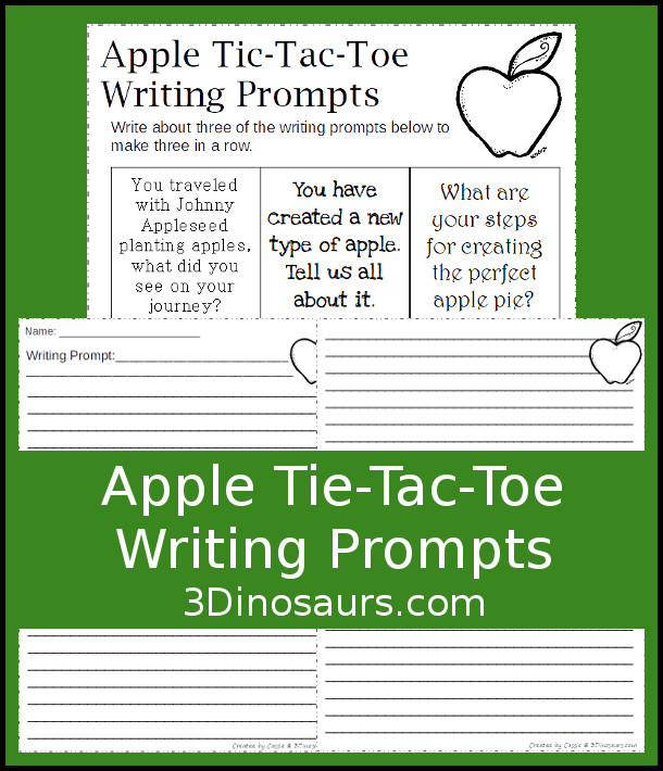 Fun FREE Apple Tic-Tac-Toe Writing Prompts - 9 writing prompts with 2 apple themed writing papers - 3Dinosaurs.com