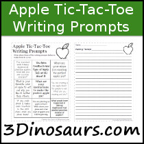 Apple  Tic-Tac-Toe Writing Prompts - 3Dinosaurs.com