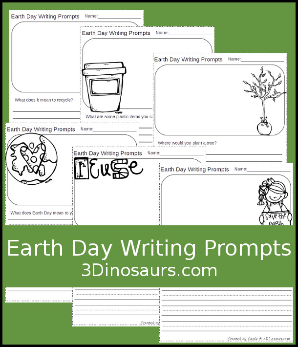 Free Spring Writing Prompts - two different types of lines and 8 different questions - 3Dinosaurs.com