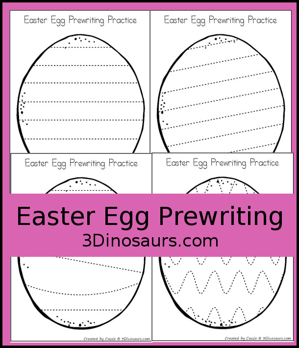 Free Easter Egg Theme Prewriting Printable - 7 pages of prewriting lines for kids - 3Dinosaurs.com