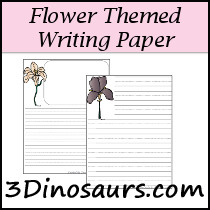 Flower Themed Writing Paper - 3Dinosaurs.com