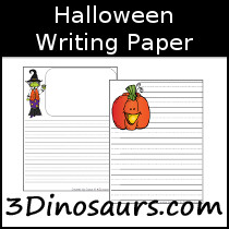 Halloween Themed Writing Paper - 3Dinosaurs.com