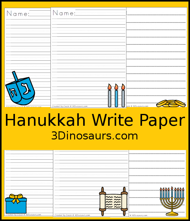 Free Hanukkah Themed Writing Paper For Kids - 6 different Nativity themes to pick from - 3Dinosaurs.com