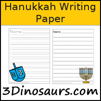 Hanukkah Themed Writing Paper - 3Dinosaurs.com