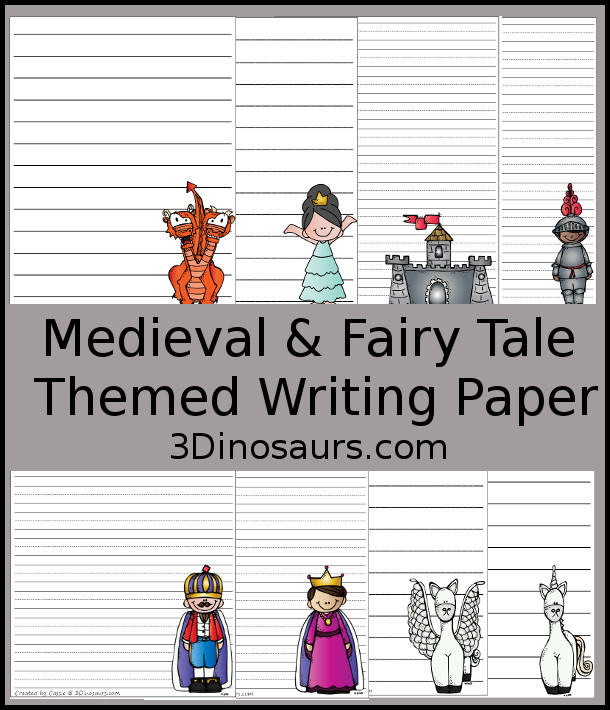 Free Medieval & Fairy Tale Themed Writing Paper with 10 images and 40 pages - 3Dinosaurs.com
