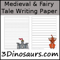 Medieval Themed Writing Paper - 3Dinosaurs.com
