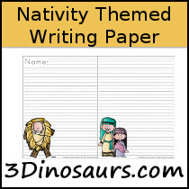 Nativity Themed Writing Paper - 3Dinosaurs.com
