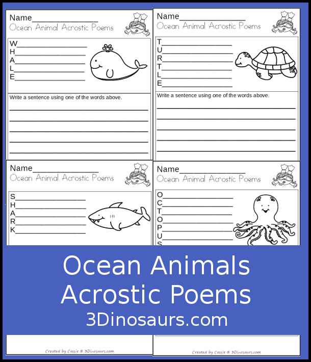 Free Ocean Animals Acrostic Poems - 6 ocean animals to make acrostic poems and do writing with.  - 3Dinosaurs.com
