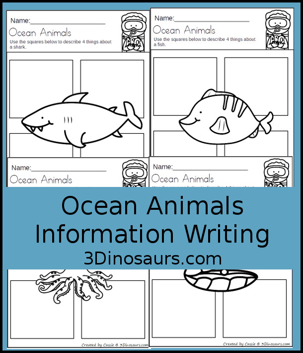 Free Ocean Animals Information Writing -  3Dinosaurs.com