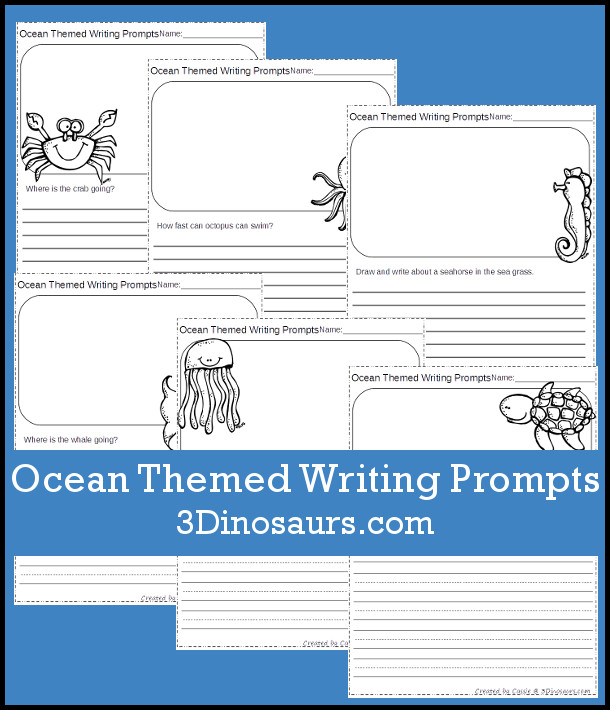 Free Ocean Themed Writing Prompts with two different line styles - 3Dinosaurs.com