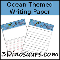 Ocean Themed Writing Paper - 3Dinosaurs.com