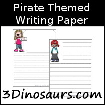 Pirate Themed Writing Paper - 3Dinosaurs.com