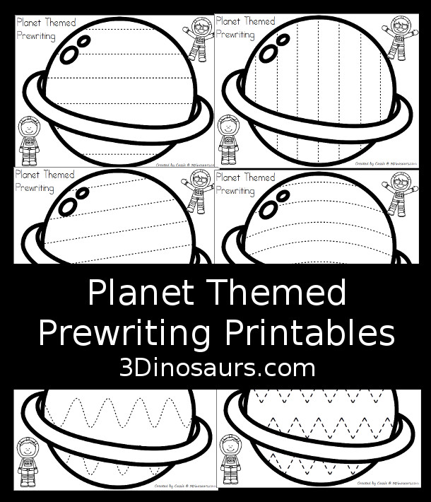 Free Planet Themed Prewriting Prewriting Printable - 6 pages of prewriting lines for kids - 3Dinosaurs.com