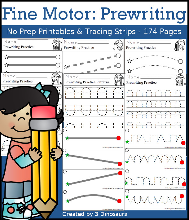 Fine Motor Prewriting Printable Set - easy pages ready for teachers to use no-prep pages, easy reader books, tons of new tracing pages and options for kids. It has 174 pages of pritnables $ - 3Dinosaurs.com