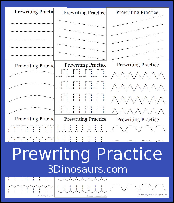 Free Prewriting Practice Printables - 14 pages of prewriting printabiens with a fine dashed line for kids to trace with different types. It has one line type per page - 3Dinosaurs.com