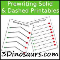 Prewriting Practice Solid and Dashed Printables - 3Dinosaurs.com