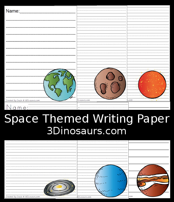 Free Outer Space Fun Planet Themed Writing Paper