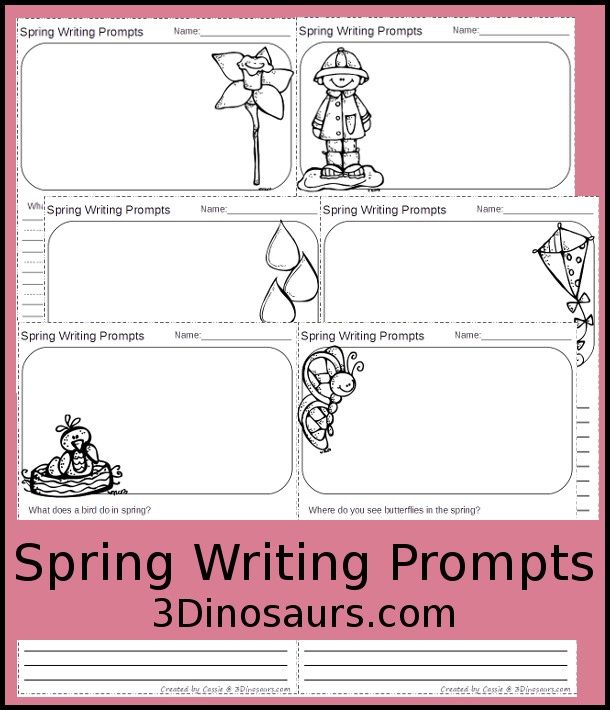 Free Spring Writing Prompts - two different types of lines and 7 different questions - 3Dinosaurs.com