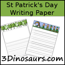 St Patrick's Day Themed Writing Paper - 3Dinosaurs.com