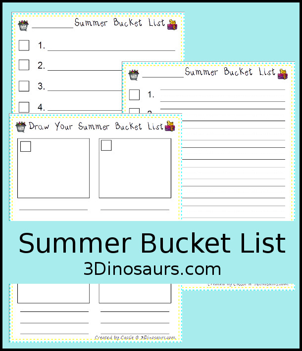Free Blank Summer Bucket List - 3 options for writing the lists - 3Dinosaurs.com