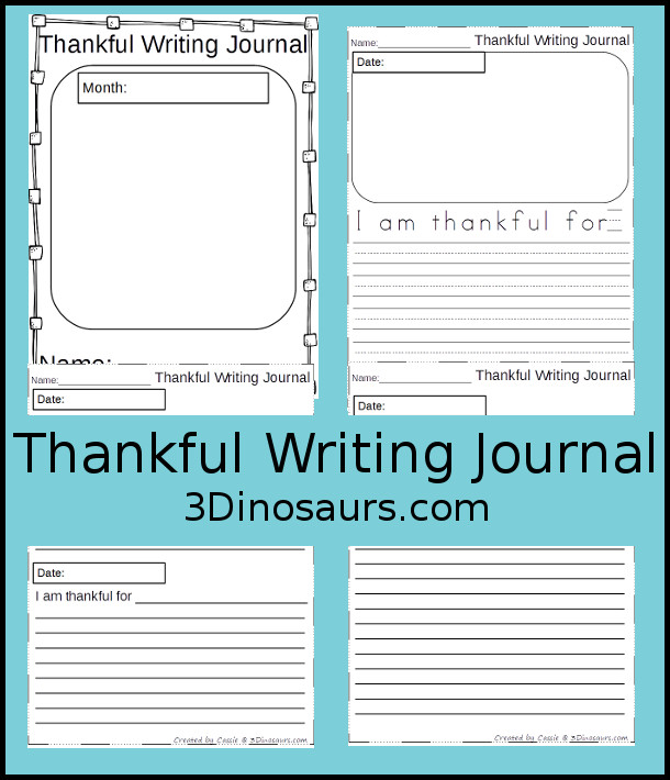Free Thankful Journal Writing For Kids | 3 Dinosaurs