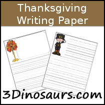 Thanksgiving Themed Writing Paper - 3Dinosaurs.com