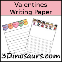 Valentines Themed Writing Paper - 3Dinosaurs.com